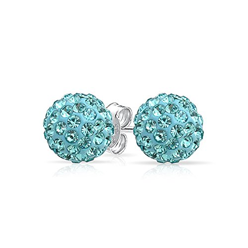Round Simple Basic Light Aqua Blue Pave Crystal Disco Ball Stud Earrings Women For Teen 925 Sterling Silver 8MM