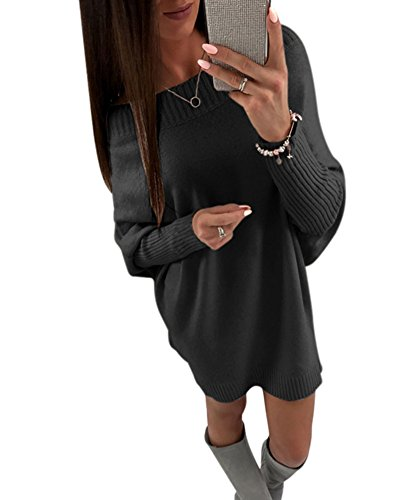 Shoulder Boatneck (Women Sexy Off Shoulder Batwing Sleeve Clubwear Loose Fit Pullover Sweater Dress Black XL)