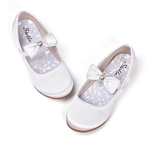 STELLE Girls Mary Jane Shoes Slip-on Party Dress Flat for Kids Toddler (12ML, Ivory(Satin)) -