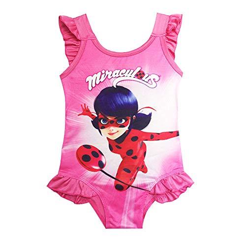 Girls Ladybug Miraculous Bathing Suit with Ruffles One Piece Swimwear Swimsuit Rose Red]()