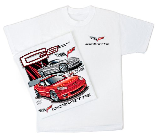 Corvette C-6 Classic Car Hotrod White Adult T-shirt, 3XL