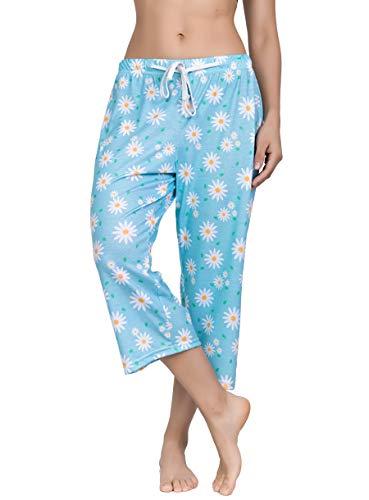 YIJIU Women's Pajama Lounge Capri Pants Print Comfy Casual Sleepwear Loose PJ Bottoms