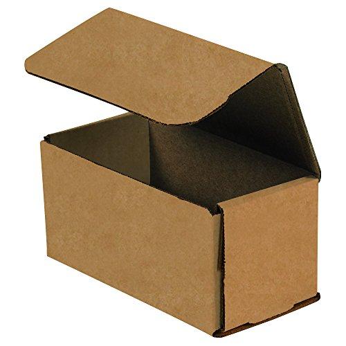 BOX USA BM432K Corrugated Mailers, 4'' x 3'' x 2'', Kraft (Pack of 50) by BOX USA