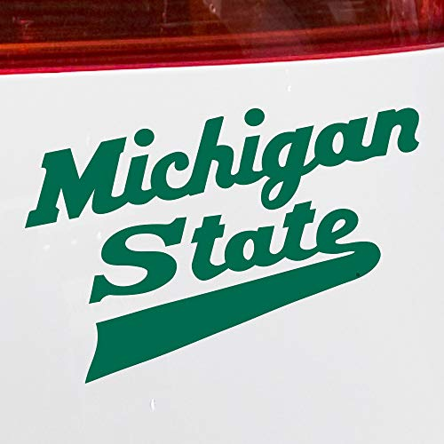 Nudge Printing Michigan State University MSU Spartans Hockey Script Logo Car Window Decal Bumper Sticker (Green)