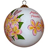 Plumeria Ornament Hand Painted Glass with Gift Box
