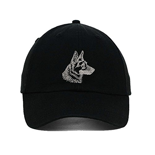 German Shepherd Head Dog Embroidery Twill Cotton 6 Panel Low Profile Hat (Dog Head Embroidery)