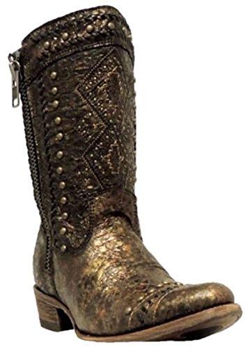 Innhegningen Kvinners Etniske Broderier Og Pigger Korte Vestlige Støvler Brunt, Gull