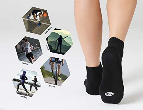 CelerSport 6 Pack Men's Ankle Socks with Cushion, Sport Athletic Running Socks