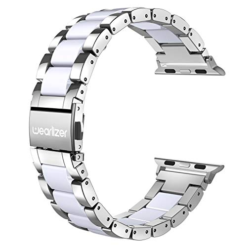 Wearlizer Compatible with Apple Watch Band 42mm 44mm Fashion Silver Womens Mens for iWatch SEStainless Steel Strap White Resin Wristband Replacement Bracelet Metal Buckle Series 6 5 4 3 2 1 Sport