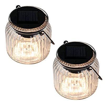 Solar Hanging Lights Outdoor - Christmas Decorative Jars Rotating Soalr Powered Glass Table Lamps Multi-Color and Warm White for Holiday, Party, Patio, Garden, Night Lamps