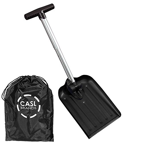 Anodized Aluminum Shovel - CASL Brands Folding Emergency Utility Snow Shovel with 8-Inch x 10-Inch Blade and Carrying Bag, Portable Compact Design, Black