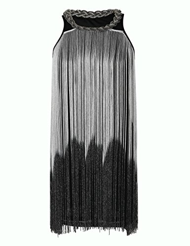 Flapper Cocktail (KAYAMIYA Women's 1920s Gatsby Tassel Draping Fringe Flapper Cocktail Dress XS/S Silver)
