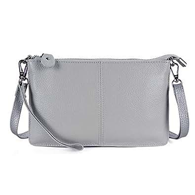 Befen Women's Smartphone Leather Wristlet Crossbody Wallet Clutch with Crossbody Strap/Wrist Strap - Light Gray