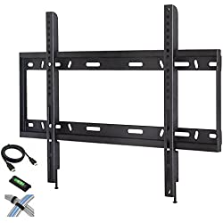 """Low Profile Fixed TV Wall Mount for 42""""-90"""" Flat Screen TVs with 6' HDMI Cable, Cable Ties and Leveler"""