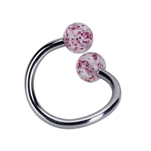 Glitter Twisted Circular Ball Belly Navel Ring Loop 14G Body Piercing Stud