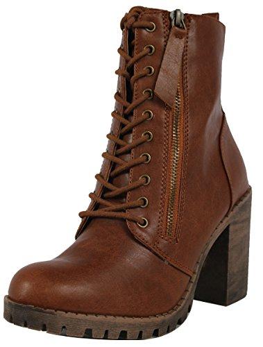 SODA Women's Malia Faux Leather Lace Up Chunky Ankle Boot, Tan, 11 M US