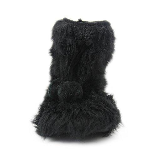 Gohom Donna Ecopelliccia Nera Frange Pistoni Interni Stivali Fuzzy Nero