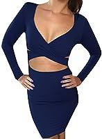 Memorose Womens Sexy Long Sleeve Cut-Out Bandage Bodycon Clubwear Midi Dress