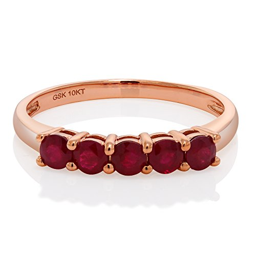 - 10K Solid Rose Gold 0.75 Cttw Round African Ruby Anniversary Wedding Band (Size 8)