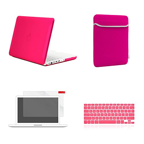 TOP CASE 4 in 1 Bundle - Rubberized Hard Case Cover + Sleeve Bag + Silicone Keyboard Cover + Screen Protector (Case NOT Compatible with Apple1st Gen A1181 with Mouse Clicker) - HOT PINK