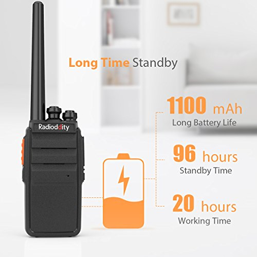 Radioddity R2 Advanced Two Way Radio UHF 400-470MHz 16 CH Scrambler VOX Rechargeable Long Range Standby time Walkie Talkies with USB Desktop Charger + Earpiece (Pack of 2) by Radioddity (Image #2)