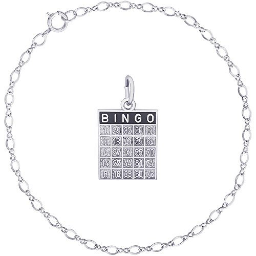 rling Silver Bingo Card Charm on a Classic Link Bracelet, 7
