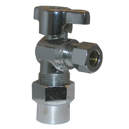 LASCO 06-9249 Angle Stop Quarter Turn Ball Valves, 1/2-Inch CPVC Inlet X 3/8-Inch Compression Outlet, Chrome - Cpvc Angle