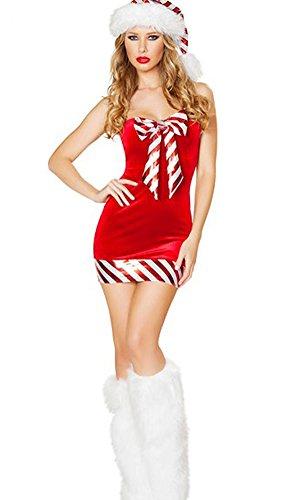 Costumes Inspiration Christmas Santas Santas Helper (Oncefirst Women's 3 Piece Christmas Hat Calf Sleeve Dress Costume)