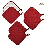 Jennice House Potholders Set Trivets Kitchen Heat Resistant Pure Cotton Coasters Hot Pads Pot Holders Set of 6 for Everyday Cooking And Baking by 7 x 7 Inch (Wine)