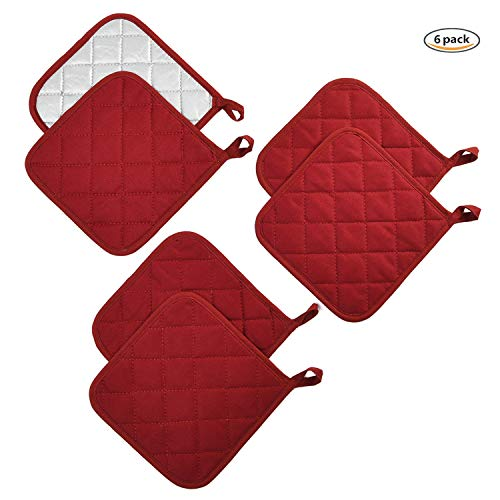 Jennice House Potholders Set Trivets Kitchen Pot Holders Heat Resistant Pure Cotton Coasters Hot Pads Pot Holders Set of 6 for Everyday Cooking and Baking by 7 x 7 Inch (Wine)