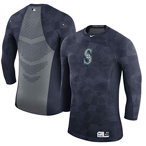 Nike Seattle Mariners Authentic Collection Pro Hypercool 3/4 Length Shirt (Small)
