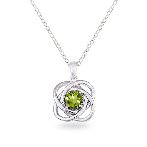 Sterling Silver Peridot Polished Love Knot Pendant Necklace