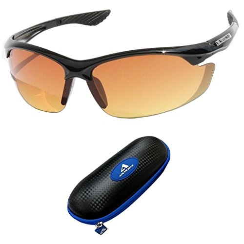Sunglasses bifocal Black with Blue Case SPORT WRAP HD NIGHT DRIVING VISION SUNGLASSES YELLOW HD GLASSES glasses non prescription sunglasses over prescription - Hardy Tom Sunglasses