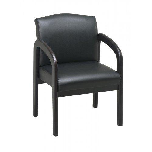 Work Smart WD388-U6 Faux Leather Espresso Finish Wood Visitor - Chair Wood Finish Visitors Leather