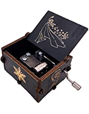 Youtang Music Box Carved Wooden Hand Crank Musical Box,