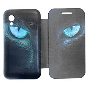 Piaopiao Black Cat Eyes Pattern PU Leather Full Body Case for Samsung S5830