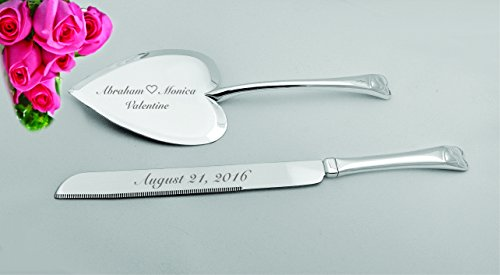 (Personalized Silver Heart Shaped Wedding Cake Knife & Server Engraved Free)