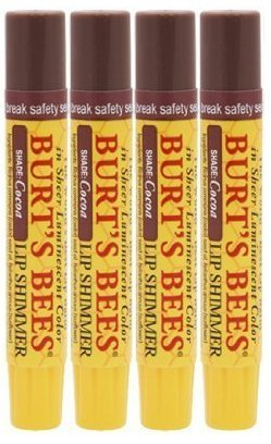 Burt's Bees Lip Shimmer, Cocoa, .09-Ounce Tubes (Pack of 4) by Burt's Bees