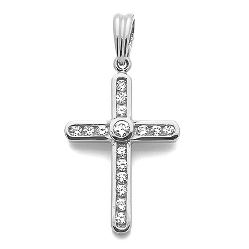 """Petits Mrveilles D'amour - pendentif Religieux - Or Blanc 585/1000 (14ct) - Oxyde de Zirconium """"Croix"""""""