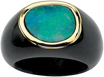 Genuine Blue Opal and Black Jade 10k Yellow Gold Bezel-Set Cabochon Ring