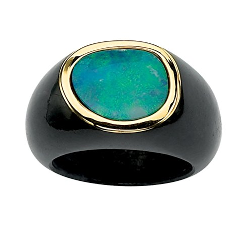 (Genuine Blue Opal and Black Jade 10k Yellow Gold Bezel-Set Cabochon Ring)