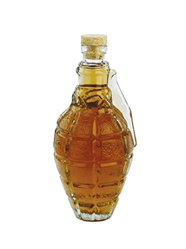 Barbuzzo Grenade Decanter with Cork Stopper - Tactical Enthusiast Glass Bottle - 17 Ounce - Perfect Container for Your Favorite Drinks and Liquor Including Scotch, Bourbon & Wine