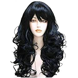 Wigbuy Fashion Full wig Hair Wigs Wavy Curly Natural Black Long Hair for Women Color (1B)