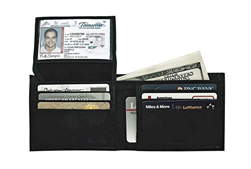 RFID Blocking Wallets For Men; Slim Mini Black Genuine Soft Leather Mens Wallet Bifold ID -