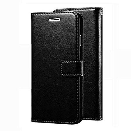 mezmo vintage leather wallet Flip Cover book cover case for samsung galaxy j7 prime   black