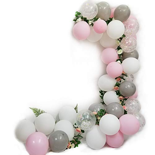 Elephant Party Balloons 48 Count-Pink Gray White Latex Balloon and Confetti Balloons For Girl Birthday Baby Shower Party Supplies]()