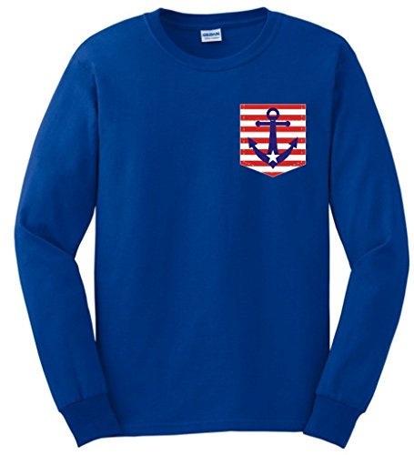 Flap Mud Flag American (American Flag Nautical Anchor Faux Fake Pocket Long Sleeve T-Shirt Small Royal)