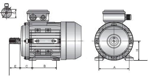 IE2. 2 poli montaggio a pedale B3 trifase corpo in alluminio Motore elettrico TEC 1.1KW potenza cavalletto telaio 80 m 3000 giri//min 1.1//2HP