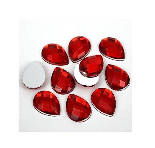 3D Glow Resin Flat Back Nail Art Decorations Teardrop Pear Rhinestones (Red)