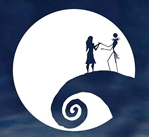 Jack and Sally Nightmare Before Christmas Moon Car Truck Laptop Window Halloween Decal Sticker 5.5 Inches White